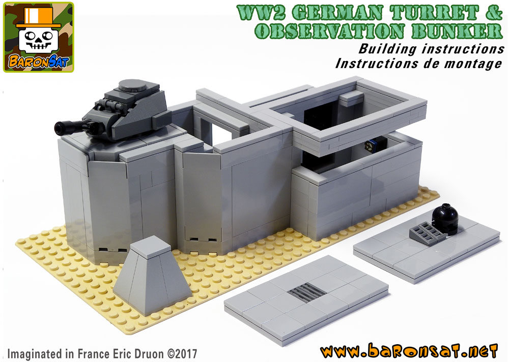 Lego ww2 Turret Observation Bunker building instructions