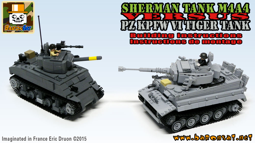 Lego moc Sherman M4A4 vs Tiger SDKFZ181 Custom Tanks Instructions