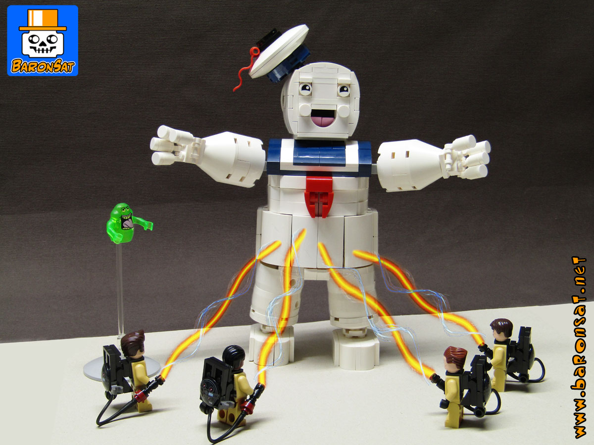 ghostbusters marshmallow man custom moc models made of lego bricks